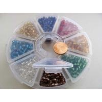 Rocaille 4mm 6/0 trou argenté par 1 boite / 8 cases / 1600 perles