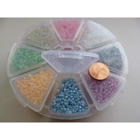 Rocaille 2mm 12/0 trou argenté par 1 boite / 8 cases / 6400 perles