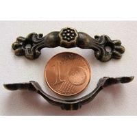 Poignée courbe 43mm métal couleur bronze déco fleur par 1 pc