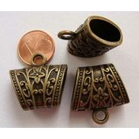 Perles Métal bronze PASSANT BELIERE motif FLEUR 23mm avec ANNEAU par 2 pcs