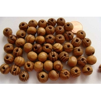 Perles Bois MARRON STRIE Rondes 10mm par 50 pcs