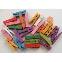 Pinces à linge 35mm BOIS mix couleurs par 25 pcs