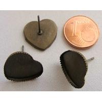 Boucle d'oreilles CLOU 13mm/14mm plateau COEUR BRONZE par 4 pcs