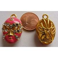 Masque Strass support doré ROSE FONCE 20mm par 1 pc