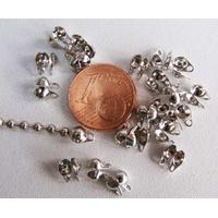Embouts avec anneaux ARGENT VIEILLI pour chaine bille par 50 pcs