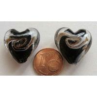 Perles verre COEUR 20mm NOIR bandeau BLANC DORE par 2 pcs