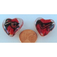 Perles verre COEUR 20mm ROUGE bandeau NOIR DORE par 2 pcs
