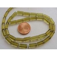 Fil Perles verre simple TUBES 10x4mm VERT OLIVE par 33 pcs