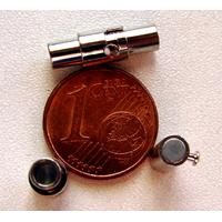 Fermoirs TUBE magnétique argenté 16mm pour cordon jusqu'à 3mm par 1 pc