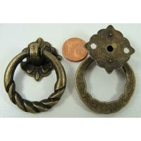 Poignée Anneau Torsade 50mm métal couleur bronze par 1 pc