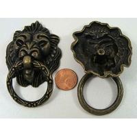 Poignée Anneau TETE DE LION 71mm métal couleur bronze par 1 pc