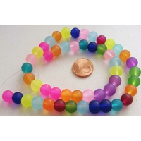 Perles verre GIVREES rondes 8mm MIX couleurs par 48 pcs