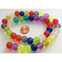 Perles verre GIVREES rondes 10mm MIX couleurs par 42 pcs