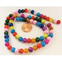 Perles verre MARBRE rondes 6mm MIX couleurs par 72 pcs