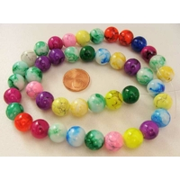 Perles verre MARBRE rondes 10mm MIX couleurs par 42 pcs
