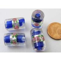 Perles verre Bande argentée TUBES 16mm BLEU FONCE par 4 pcs