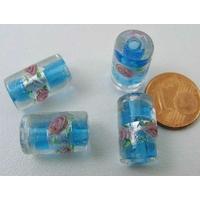 Perles verre Bande argentée TUBES 16mm BLEU par 4 pcs