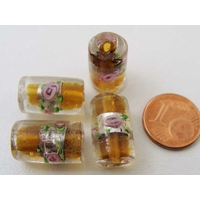 Perles verre Bande argentée TUBES 16mm MARRON par 4 pcs