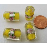 Perles verre Bande argentée TUBES 16mm JAUNE par 4 pcs