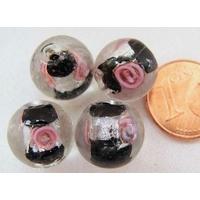 Perles verre Bande argentée ROND 12mm NOIR par 4 pcs