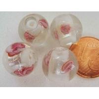 Perles verre Bande argentée ROND 12mm BLANC par 4 pcs