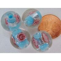 Perles verre Bande argentée ROND 12mm BLEU CLAIR par 4 pcs