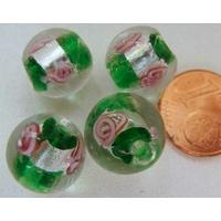 Perles verre Bande argentée ROND 12mm VERT FONCE par 4 pcs