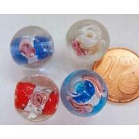 Perles verre Bande argentée ROND 12mm MIX 4 couleurs par 4 pcs