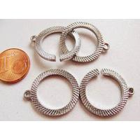 Fermoirs ronds 19mm métal ARGENT VIEILLI Anneaux encastrables par 5 pcs