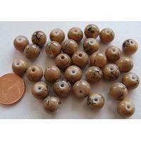 Perles verre motif MARBRE rondes 8mm BEIGE par 30 pcs