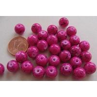 Perles verre motif MARBRE rondes 8mm FRAMBOISE par 30 pcs