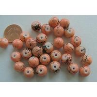 Perles verre motif MARBRE rondes 8mm MARRON SAUMON par 30 pcs