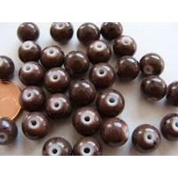 Perles verre motif MARBRE rondes 8mm MARRON FONCE par 30 pcs