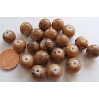 Perles verre motif MARBRE rondes 10mm BEIGE par 20 pcs
