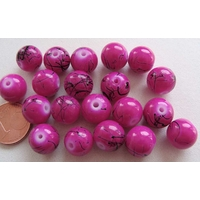 Perles verre motif MARBRE rondes 10mm FRAMBOISE par 20 pcs
