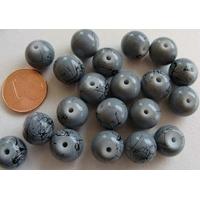 Perles verre motif MARBRE rondes 10mm GRIS par 20 pcs