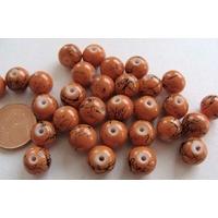 Perles verre motif MARBRE rondes 10mm MARRON par 20 pcs