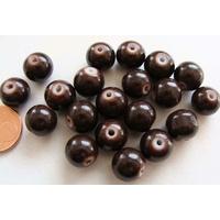 Perles verre motif MARBRE rondes 10mm MARRON FONCE par 20 pcs