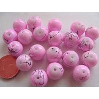 Perles verre motif MARBRE rondes 10mm ROSE par 20 pcs