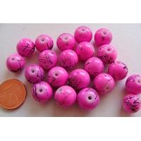 Perles verre motif MARBRE rondes 10mm ROSE FONCE par 20 pcs
