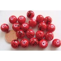 Perles verre motif MARBRE rondes 10mm ROUGE par 20 pcs