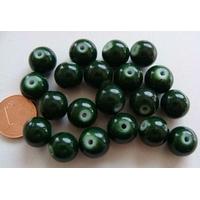 Perles verre motif MARBRE rondes 10mm VERT FONCE par 20 pcs