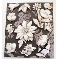 Stickers 3D papier carton mod3 Fleurs par 1 planche