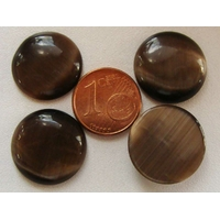 Cabochon Oeil de Chat Ronds 18mm MARRON FONCE par 4 pcs
