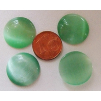 Cabochon Oeil de Chat Ronds 18mm VERT par 4 pcs
