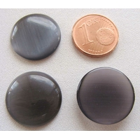 Cabochon Oeil de Chat Ronds 18mm GRIS FONCE par 4 pcs