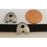 Perle Métal argenté vieilli PASSANTE Strass LETTRE A 12mm par 1 pc