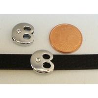Perle Métal argenté vieilli PASSANTE Strass LETTRE B 12mm par 1 pc