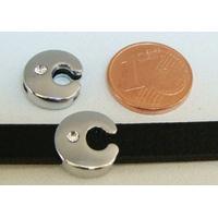 Perle Métal argenté vieilli PASSANTE Strass LETTRE C 12mm par 1 pc