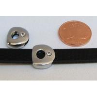 Perle Métal argenté vieilli PASSANTE Strass LETTRE D 12mm par 1 pc